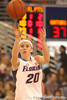 photo by Tim Casey<br /> <br /> Florida junior guard Susan Yenser passes the ball during the Gators' 75-54 win against the Mississippi Rebels on Sunday, January 25, 2009 at the Stephen C. O'Connell Center in Gainesville, Fla.