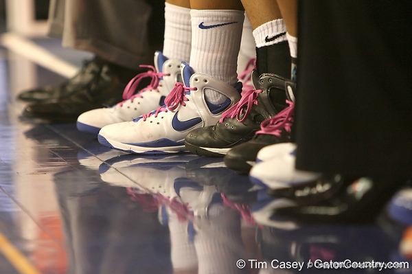 photo by Tim Casey<br /> <br /> The Florida basketball team wore pink in memory of Kay Yow during the Gators' 75-54 win against the Mississippi Rebels on Sunday, January 25, 2009 at the Stephen C. O'Connell Center in Gainesville, Fla.