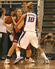 photo by Tim Casey<br /> <br /> Florida junior guard Steffi Sorensen guards Elizabeth Robertson during the Gators' 75-54 win against the Mississippi Rebels on Sunday, January 25, 2009 at the Stephen C. O'Connell Center in Gainesville, Fla.