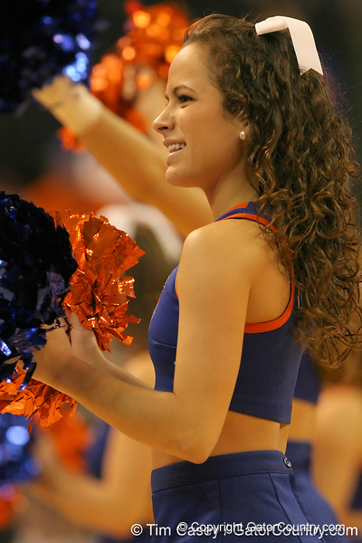 photo by Tim Casey<br /> <br /> A Florida cheerleader performs during the Gators' 75-54 win against the Mississippi Rebels on Sunday, January 25, 2009 at the Stephen C. O'Connell Center in Gainesville, Fla.