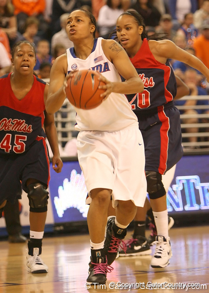 photo by Tim Casey<br /> <br /> Florida freshman guard Trumae Lucas drives to the basket during the second half of the Gators' 75-54 win against the Mississippi Rebels on Sunday, January 25, 2009 at the Stephen C. O'Connell Center in Gainesville, Fla. UF wore pink shoelaces to honor Kay Yow, who died of cancer on Saturday.