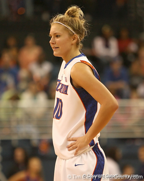 photo by Tim Casey<br /> <br /> Florida junior guard Steffi Sorensen talks with a teammate during the Gators' 75-54 win against the Mississippi Rebels on Sunday, January 25, 2009 at the Stephen C. O'Connell Center in Gainesville, Fla.