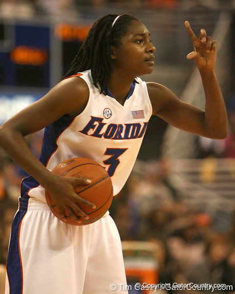 photo by Tim Casey<br /> <br /> Florida senior guard Sha Brooks signals for a play during the Gators' 75-54 win against the Mississippi Rebels on Sunday, January 25, 2009 at the Stephen C. O'Connell Center in Gainesville, Fla.