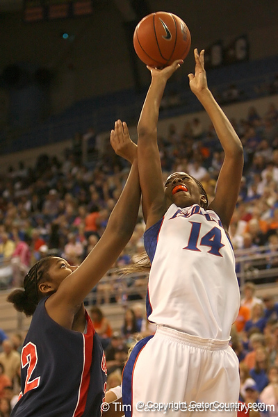 photo by Tim Casey<br /> <br /> Florida redshirt-freshman forward Ndidi Madu misses a layup with 5:48 remaining during the first half of the during the Gators' 75-54 win against the Mississippi Rebels on Sunday, January 25, 2009 at the Stephen C. O'Connell Center in Gainesville, Fla.