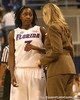 photo by Tim Casey<br /> <br /> Florida senior guard Sha Brooks talks with head coach Amanda Butler during the Gators' 75-54 win against the Mississippi Rebels on Sunday, January 25, 2009 at the Stephen C. O'Connell Center in Gainesville, Fla.