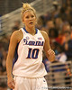 photo by Tim Casey<br /> <br /> Florida junior guard Steffi Sorensen backs up on defense during the Gators' 75-54 win against the Mississippi Rebels on Sunday, January 25, 2009 at the Stephen C. O'Connell Center in Gainesville, Fla.