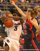 photo by Tim Casey<br /> <br /> Florida senior guard Sha Brooks gets fouled by Shantell Black with 16:54 remaining during the Gators' 75-54 win against the Mississippi Rebels on Sunday, January 25, 2009 at the Stephen C. O'Connell Center in Gainesville, Fla.
