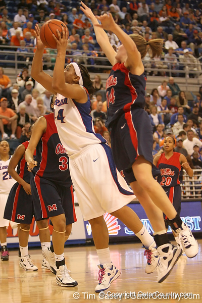 photo by Tim Casey<br /> <br /> Florida senior forward Marshae Dotson misses a layup during the Gators' 75-54 win against the Mississippi Rebels on Sunday, January 25, 2009 at the Stephen C. O'Connell Center in Gainesville, Fla.