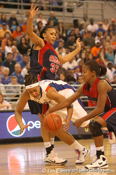 photo by Tim Casey<br /> <br /> Florida senior forward Marshae Dotson gets fouled during the Gators' 75-54 win against the Mississippi Rebels on Sunday, January 25, 2009 at the Stephen C. O'Connell Center in Gainesville, Fla.
