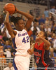 photo by Tim Casey<br /> <br /> Florida senior center Aneika Henry looks to pass during the Gators' 75-54 win against the Mississippi Rebels on Sunday, January 25, 2009 at the Stephen C. O'Connell Center in Gainesville, Fla.