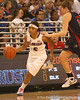 photo by Tim Casey<br /> <br /> Florida junior guard Lonnika Thompson brings the ball down the court during the Gators' 75-54 win against the Mississippi Rebels on Sunday, January 25, 2009 at the Stephen C. O'Connell Center in Gainesville, Fla.