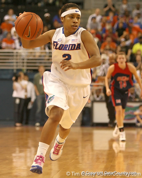 photo by Tim Casey<br /> <br /> Florida junior guard Lonnika Thompson leads a fast break during the Gators' 75-54 win against the Mississippi Rebels on Sunday, January 25, 2009 at the Stephen C. O'Connell Center in Gainesville, Fla.