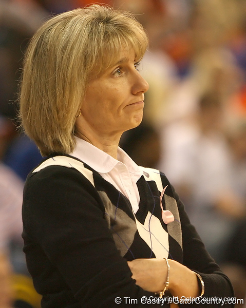 photo by Tim Casey<br /> <br /> Mississippi coach Renee Ladner watches in disapproval during the Gators' 75-54 win against the Lady Rebels on Sunday, January 25, 2009 at the Stephen C. O'Connell Center in Gainesville, Fla.