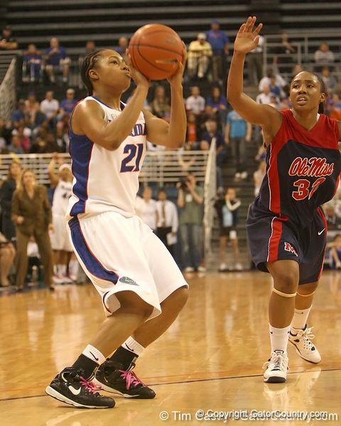 photo by Tim Casey<br /> <br /> Florida freshman guard Trumae Lucas attempts to get a shot off in the final seconds of the first half during the Gators' 75-54 win against the Mississippi Rebels on Sunday, January 25, 2009 at the Stephen C. O'Connell Center in Gainesville, Fla.