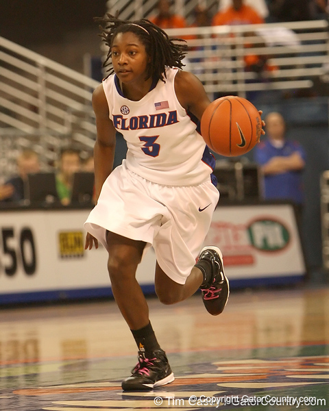 photo by Tim Casey<br /> <br /> Florida senior guard Sha Brooks brings the ball past midcourt during the Gators' 75-54 win against the Mississippi Rebels on Sunday, January 25, 2009 at the Stephen C. O'Connell Center in Gainesville, Fla.