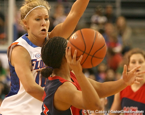 photo by Tim Casey<br /> <br /> Florida junior guard Steffi Sorensen guards Shantell Black during the Gators' 75-54 win against the Mississippi Rebels on Sunday, January 25, 2009 at the Stephen C. O'Connell Center in Gainesville, Fla.