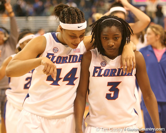 photo by Tim Casey<br /> <br /> Florida senior forward Marshae Dotson talks with senior guard Sha Brooks the Gators' 75-54 win against the Mississippi Rebels on Sunday, January 25, 2009 at the Stephen C. O'Connell Center in Gainesville, Fla.