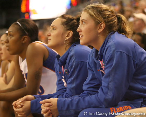 photo by Tim Casey<br /> <br /> Florida sophomore guard Jordan Jones watches from the bench during the Gators' 75-54 win against the Mississippi Rebels on Sunday, January 25, 2009 at the Stephen C. O'Connell Center in Gainesville, Fla.