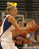 photo by Tim Casey<br /> <br /> Florida junior guard Steffi Sorensen passes during the Gators' 75-54 win against the Mississippi Rebels on Sunday, January 25, 2009 at the Stephen C. O'Connell Center in Gainesville, Fla.