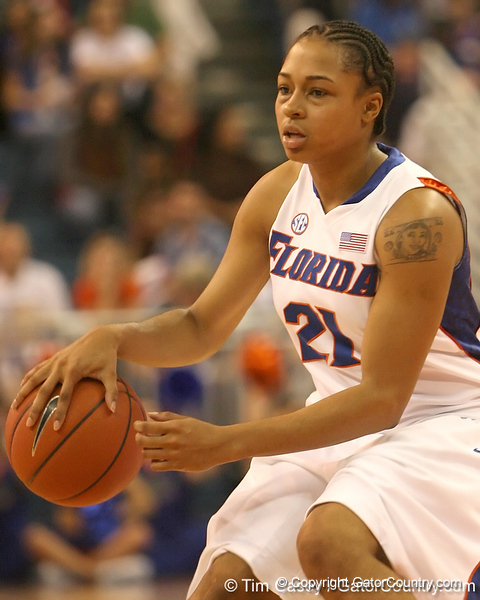 photo by Tim Casey<br /> <br /> Florida freshman guard Trumae Lucas handles the ball during the Gators' 75-54 win against the Mississippi Rebels on Sunday, January 25, 2009 at the Stephen C. O'Connell Center in Gainesville, Fla.