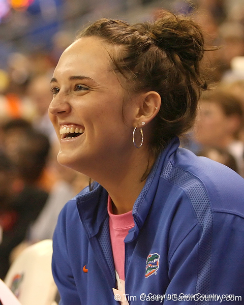 photo by Tim Casey<br /> <br /> Florida junior guard Jennifer Mossor laughs on the bench during the Gators' 75-54 win against the Mississippi Rebels on Sunday, January 25, 2009 at the Stephen C. O'Connell Center in Gainesville, Fla.
