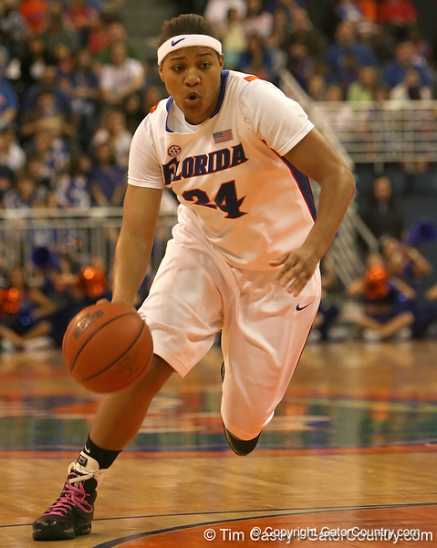 photo by Tim Casey<br /> <br /> Florida junior forward Sharielle Smith drives to the basket during the Gators' 75-54 win against the Mississippi Rebels on Sunday, January 25, 2009 at the Stephen C. O'Connell Center in Gainesville, Fla.