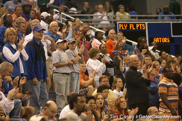 photo by Tim Casey<br /> <br /> Florida fans stand and cheer during the Gators' 75-54 win against the Mississippi Rebels on Sunday, January 25, 2009 at the Stephen C. O'Connell Center in Gainesville, Fla.