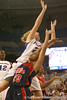 photo by Tim Casey<br /> <br /> Florida junior guard Susan Yenser gets called for an offensive foul during the Gators' 75-54 win against the Mississippi Rebels on Sunday, January 25, 2009 at the Stephen C. O'Connell Center in Gainesville, Fla.