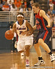 photo by Tim Casey<br /> <br /> Florida junior guard Lonnika Thompson brings the ball past midcourt during the Gators' 75-54 win against the Mississippi Rebels on Sunday, January 25, 2009 at the Stephen C. O'Connell Center in Gainesville, Fla.