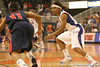 photo by Tim Casey<br /> <br /> Florida junior guard Lonnika Thompson guards Shantell Black during the Gators' 75-54 win against the Mississippi Rebels on Sunday, January 25, 2009 at the Stephen C. O'Connell Center in Gainesville, Fla.