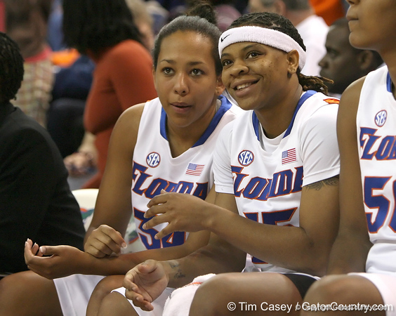 photo by Tim Casey<br /> <br /> Florida freshman guard Tailor Jones talks with senior guard Kim Critton during the second half of the Gators' 74-59 win against the Kentucky Wildcats on Thursday, January 29, 2009 at the Stephen C. O'Connell Center in Gainesville, Fla.