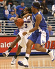 photo by Tim Casey<br /> <br /> Florida senior guard Sha Brooks gets fouled while driving to the basket during the second half of the Gators' 74-59 win against the Kentucky Wildcats on Thursday, January 29, 2009 at the Stephen C. O'Connell Center in Gainesville, Fla.