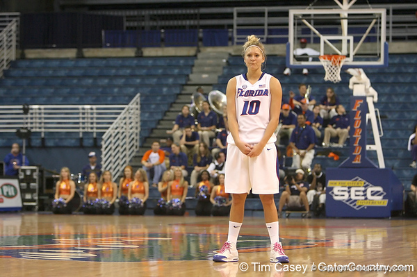 photo by Tim Casey<br /> <br /> Florida junior guard Steffi Sorensen watches while a foul shot is taken during the second half of the Gators' 74-59 win against the Kentucky Wildcats on Thursday, January 29, 2009 at the Stephen C. O'Connell Center in Gainesville, Fla.