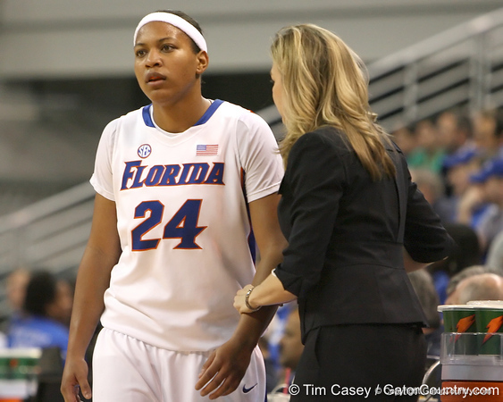 photo by Tim Casey<br /> <br /> Florida junior forward Sharielle Smith listens to head coach Amanda Butler during the second half of the Gators' 74-59 win against the Kentucky Wildcats on Thursday, January 29, 2009 at the Stephen C. O'Connell Center in Gainesville, Fla.
