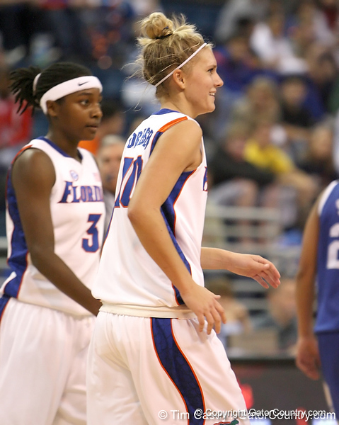 photo by Tim Casey<br /> <br /> Florida junior guard Steffi Sorensen smiles during the second half of the Gators' 74-59 win against the Kentucky Wildcats on Thursday, January 29, 2009 at the Stephen C. O'Connell Center in Gainesville, Fla.