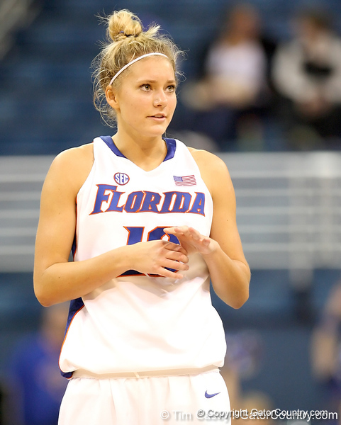 photo by Tim Casey<br /> <br /> Florida junior guard Steffi Sorensen glances at the scoreboard during the second half of the Gators' 74-59 win against the Kentucky Wildcats on Thursday, January 29, 2009 at the Stephen C. O'Connell Center in Gainesville, Fla.