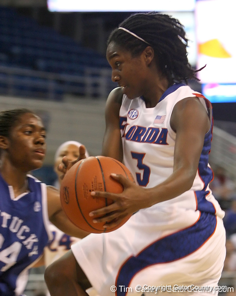 photo by Tim Casey<br /> <br /> Florida senior guard Sha Brooks passes under the basket during the second half of the Gators' 74-59 win against the Kentucky Wildcats on Thursday, January 29, 2009 at the Stephen C. O'Connell Center in Gainesville, Fla.