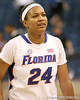 photo by Tim Casey<br /> <br /> Florida junior forward Sharielle Smith walks off of the court after the Gators' 74-59 win against the Kentucky Wildcats on Thursday, January 29, 2009 at the Stephen C. O'Connell Center in Gainesville, Fla.