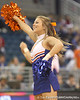 photo by Tim Casey<br /> <br /> A Florida cheerleader performs aduring the second half of the Gators' 74-59 win against the Kentucky Wildcats on Thursday, January 29, 2009 at the Stephen C. O'Connell Center in Gainesville, Fla.