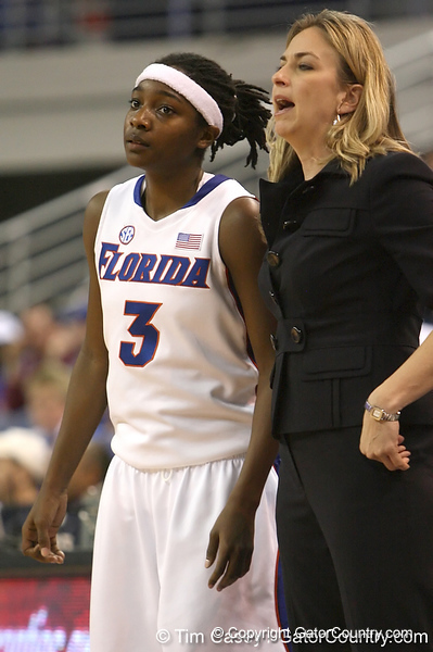 photo by Tim Casey<br /> <br /> Florida senior guard Sha Brooks listens to head coach Amanda Butler during the second half of the Gators' 74-59 win against the Kentucky Wildcats on Thursday, January 29, 2009 at the Stephen C. O'Connell Center in Gainesville, Fla.