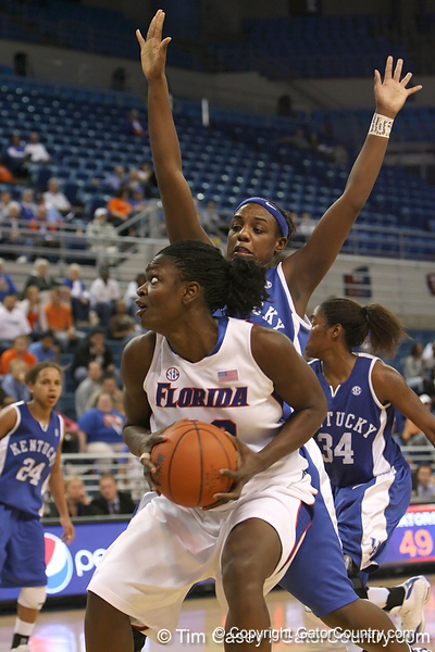 photo by Tim Casey<br /> <br /> Florida senior center Aneika Henry makes a post move during the second half of the Gators' 74-59 win against the Kentucky Wildcats on Thursday, January 29, 2009 at the Stephen C. O'Connell Center in Gainesville, Fla.