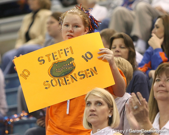 photo by Tim Casey<br /> <br /> A Florida fan holds a sign during the second half of the Gators' 74-59 win against the Kentucky Wildcats on Thursday, January 29, 2009 at the Stephen C. O'Connell Center in Gainesville, Fla.