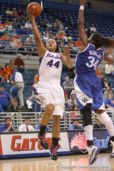 photo by Tim Casey<br /> <br /> Florida senior forward Marshae Dotson shoots a layup during the second half of the Gators' 74-59 win against the Kentucky Wildcats on Thursday, January 29, 2009 at the Stephen C. O'Connell Center in Gainesville, Fla.