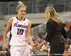 photo by Tim Casey<br /> <br /> Florida junior guard Steffi Sorensen shakes hands with head coach Amanda Butler during the second half of the Gators' 74-59 win against the Kentucky Wildcats on Thursday, January 29, 2009 at the Stephen C. O'Connell Center in Gainesville, Fla.