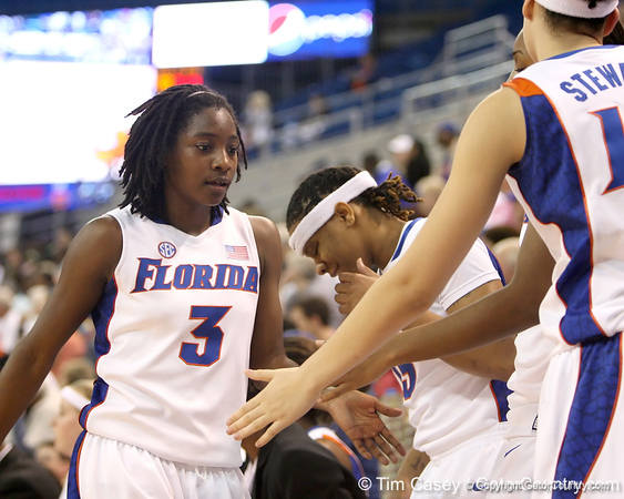 photo by Tim Casey<br /> <br /> Florida senior guard Sha Brooks checks out of the game during the second half of the Gators' 74-59 win against the Kentucky Wildcats on Thursday, January 29, 2009 at the Stephen C. O'Connell Center in Gainesville, Fla.
