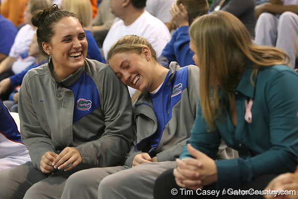 photo by Tim Casey<br /> <br /> Florida junior guard Jennifer Mossor jokes with sophomore guard Jordan Jones during the second half of the Gators' 74-59 win against the Kentucky Wildcats on Thursday, January 29, 2009 at the Stephen C. O'Connell Center in Gainesville, Fla.