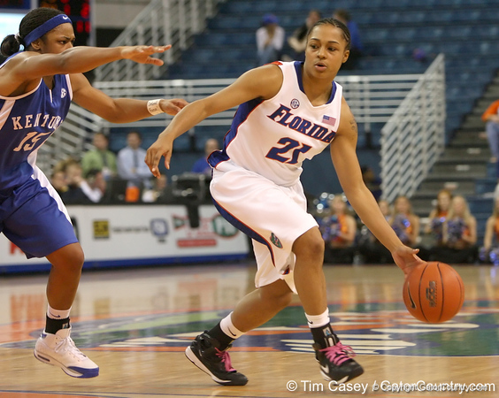photo by Tim Casey<br /> <br /> Florida freshman guard Trumae Lucas dribbles around the arc during the second half of the Gators' 74-59 win against the Kentucky Wildcats on Thursday, January 29, 2009 at the Stephen C. O'Connell Center in Gainesville, Fla.