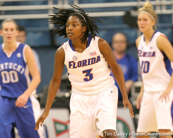 photo by Tim Casey<br /> <br /> Florida senior guard Sha Brooks backs up on defense during the second half of the Gators' 74-59 win against the Kentucky Wildcats on Thursday, January 29, 2009 at the Stephen C. O'Connell Center in Gainesville, Fla.
