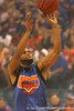 "photo by Tim Casey<br /> <br /> Walter Hodge shoots for a 3-point basket during ""Shooting With the Stars,"" a basketball fan appreciation event, on Friday, October 24, 2008 at the Stephen C. O'Connell Center in Gainesville, Fla."