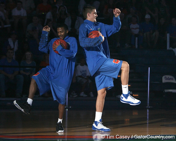 """photo by Tim Casey<br /> <br /> Jai Lucas and Chandler Parsons dance during """"Shooting With the Stars,"""" a basketball fan appreciation event, on Friday, October 24, 2008 at the Stephen C. O'Connell Center in Gainesville, Fla."""